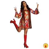 Hippie Kostüm Nancy Größe 44 buntes Kleid mit brauner Weste Flower Power Party 70er Jahre (44) - 1