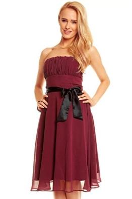 Knielanges Bandeau Kleid Chiffon Ballkleid Abendkleid Cocktailkleid Festkleid XS bis XXL M (36) Bordeaux - 1