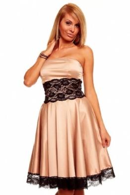 Knielanges Bandeau Kleid Satinkleid Ballkleid Abendkleid Cocktailkleid Festkleid Braun L (38) - 1