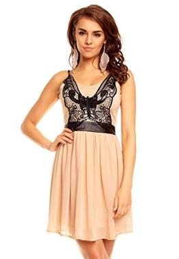 Kurzes Kleid Minikleid Cocktailkleid Abendkleid Partykleid mit Träger, beige S - 1