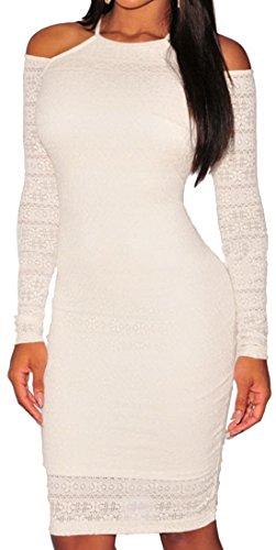 Lukis Damen Schulterfrei Partykleid Langarm Cocktail Knielang Kleid (Weiß) - 1