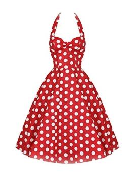 Luouse Damen 'Audrey Hepburn' Polka Dots Druck Holder Weinlese- Rockabilly Swing Abend Hochzeit Abschlussballkleid - 1