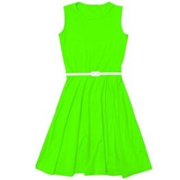 Mädchen Kleid Skater Kinder Party Kleider Mit Gratis Gürtel EU 122 128 134 140 146 152 158 - EU 122/128, Neongrün - 1