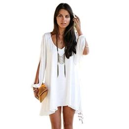 Minetom Damen Sommerkleid V-Ausschnitt Chiffon A-Linie Minikleider Abend Kleid,Party Abendkleid,Cocktailkleid Strandkleid Urlaub Kleid ( Weiß EU M ) - 1