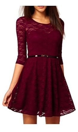 Minetom Sexy Rahmen Ausschnitt Minikleid 3/4 longues Elegant Cocktailparty Kleid Abend-Kleid Dress Mit Gürtel ( Rot EU M ) - 1