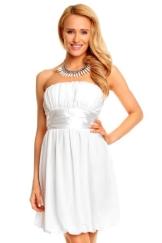 Mini Bandeau Kleid Chiffon Ballonkleid Ballkleid Abendkleid Cocktailkleid Festkleid M (36) Weiß - 1