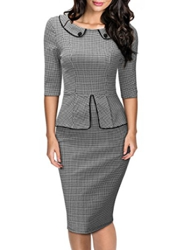 Miusol Damen 3/4 Arm Schoesschen?Cocktailkleid Hahnentrittmuster 1950er Jahre Business Stretch Kleid Grau Gr.XXL - 1
