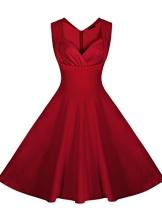 Miusol Damen Aermellos Sommerkleid 1950er Retro Cocktailkleid Petticoat Faltenrock Kleid Rot Groesse L - 1