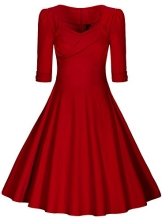 Miusol Damen Elegant Kurzarm Business Rockabilly Cocktailkleid retro 50er Jahre Party Stretch Kleid Rot Groesse M - 1