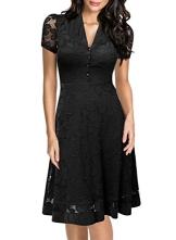Miusol Damen Elegant Sommerkleid V-Ausschnitt Kurzarm Business CocktailKleid Spitzen Party Kleid Schwarz EU 42/L - 1