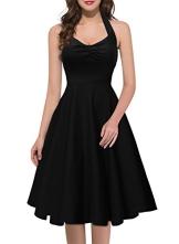 Miusol Damen Sommerkleid Neckholder Stretch Rockabilly Retro Cocktailkleid 1950er Party Kleid Schwarz Groesse 36/38/S - 1