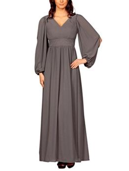 My Evening Dress Langärmlige Damen Kleider bodenlang Plissee Chiffonkleider Festkleider Abendkleider Festkleider Cocktailkleider Frauen Grau 42 - 1