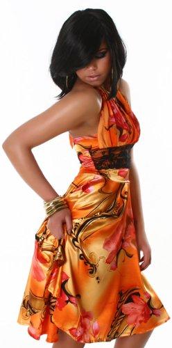 Neckholder-Minikleid mit buntem Muster, orange Größe 32 34 - 1