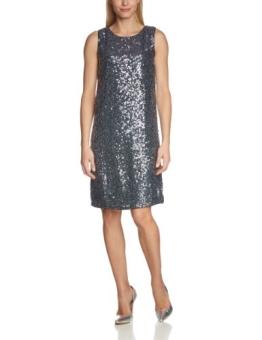 No. 19 Damen Cocktail Kleid Sequins Dress, Knielang, Einfarbig, Gr. 38 (Herstellergröße: M), Grau - 1
