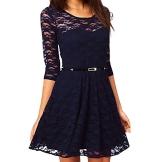 OFTEN® Damen Mädchen 3/4 ärmel Spitze Kleid Sommer Kurzkleid Cocktailkleid mit Gürtel 4 Farben 3 Größ(L, schwarz) - 1