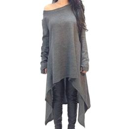 QIYUN.Z Fashion Grau Frauen Verbunden Fingern Lange Hülse Unregelmäßigen Rand T-Shirts Kleid - 1