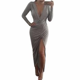 Qiyun Z. Sexy Tiefem V-Ausschnitt Grau Bodycon Frauen Langarm-Hoch Split Cocktail-Kleid - 1