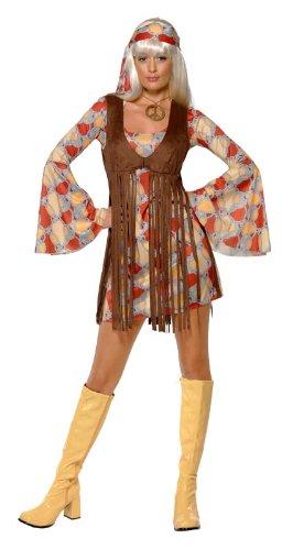 Smiffy's 39435M - 1960er Jahre Schickes Schätzchen mit Kleid und Fransen-Weste, braun - 1