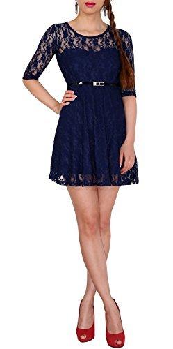 SODACODA 3/4-Arm Damen Prinzessin süßes Spitzenkleid Partykleid Ballkleid Minikleid (Blau, S) - 1
