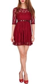 SODACODA 3/4-Arm Damen Prinzessin süßes Spitzenkleid Partykleid Ballkleid Minikleid - EXTRA KURZ - Alle Farben und Größen (S-L) (XXL (40), Wein Rot) - 1