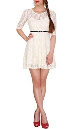 SODACODA 3/4-Arm Damen Prinzessin süßes Spitzenkleid Partykleid Ballkleid Minikleid (Weiß, M) - 1