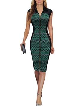 Sparkling YXB Damen V-Ausschnitt Ohne Arm Reissverschluss vorne Schößchen Cocktailkleid Business Kleid Grün/Rot - 1