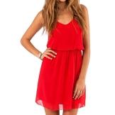 SUNNOW® NEU Damen Sommerkleid Minikleid reizvolle Chiffon beiläufig doppel Schulterriemen elegant Frauen Partykleid Cocktailkleid (M, Rot) - 1