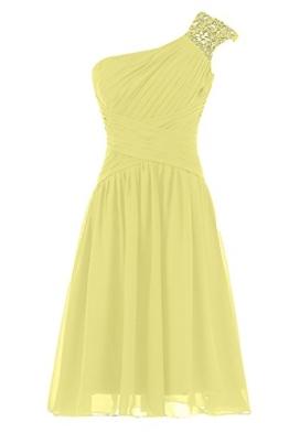 Sunvary Liebling Ein-Schulter Abendkleider Lang Chiffon Cocktailkleider Brautjungfernkleider Partykleider-36-Gelb - 1