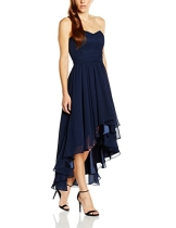 Swing Damen Schulterfreies Kleid im Vokuhila-Stil, Gr. 34, Blau (schwarzblau 300) - 1