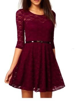 UUstar® Sexy Rahmen -Ausschnitt Minikleid Manches 3/4 longues Gürtel Elegant Cocktailparty Kleid Abend-Kleid Dress Mit Geblümt Lesbie Modelle (M, Rot) - 1