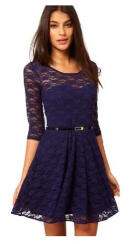 UUstar® Sexy Rahmen -Ausschnitt Minikleid Manches 3/4 longues Gürtel Elegant Cocktailparty Kleid Abend-Kleid Dress Mit Geblümt Lesbie Modelle (S, Blau) - 1