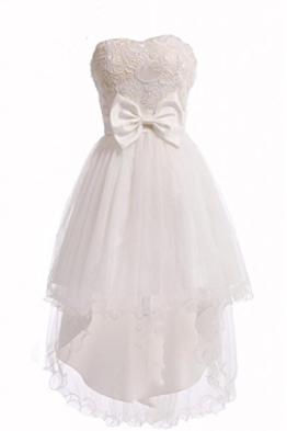 Vililye® Damen trägerlos Hochzeit Brautjungfer Bridesmaid Party Abendkleid Mini kleid Weiß - 1