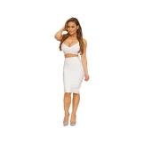 Whoinshop Damen 2 tlg Set ärmellos Design Bandage Partykleid Weiß XS - 1