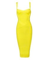 Whoinshop Damen Rayon Strap Mittelkurz-Abend-Partei-Verband-Abendkleid (S, gelb) - 1