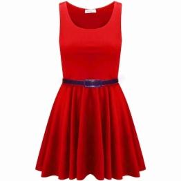 Womens Gürtel ärmellos Schlaghose Franki Short Jersey Partei-Damen Kurzkleid Top 8-14 (M/L (12-14), Red) - 1