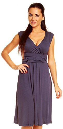 Zeta Ville Damen Ärmelloses Tageskleid Cocktail Sommer Kleid Gr. 36-46 256z (Blau Grau, 46) - 1