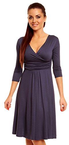 Zeta Ville Damen Ausgestellter Schnitt Swing-Kleid Sommerkleid Cocktailkleid 282z (Blau Grau, 38) - 1