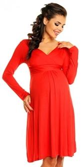 Zeta Ville - Damen - Umstandskleid Langarm - Cocktailkleid für Schwangere - 890c (Rot, 44) - 1